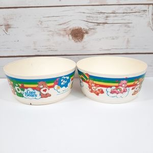 Pair of 1983 Care Bears Hard Plastic Cereal Bowls
